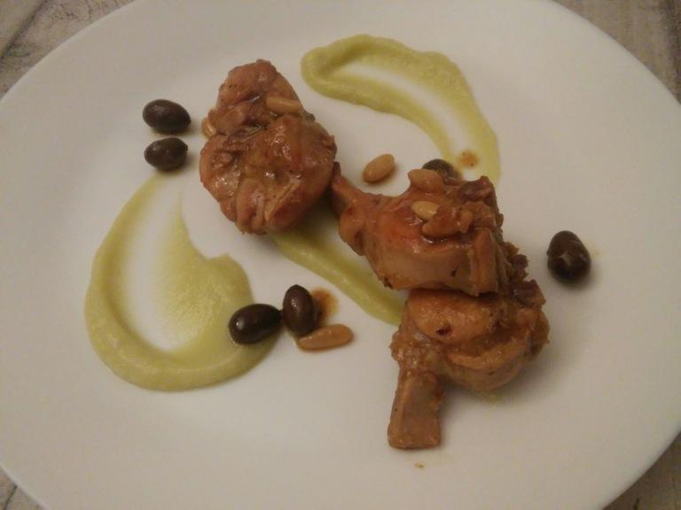 coniglio alla ligure, broccolo romanesco