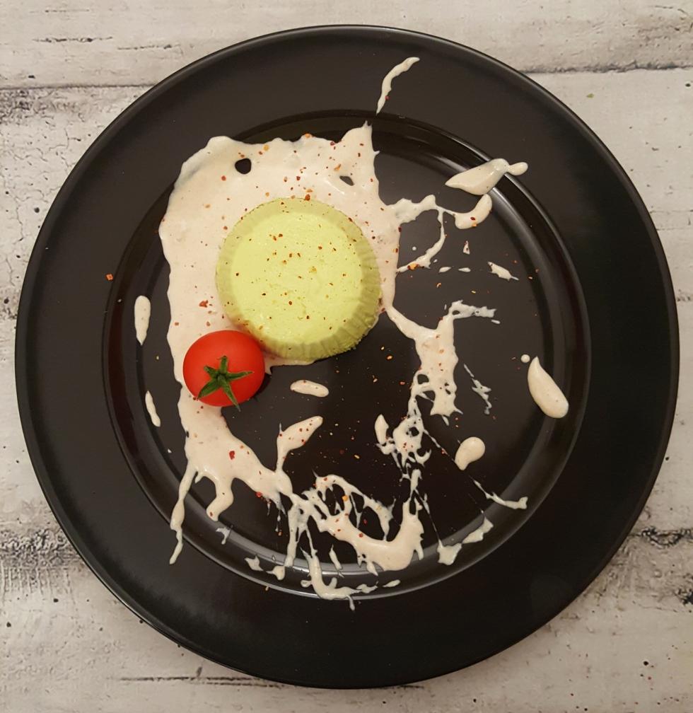 Flan broccoli salsa aringa affumicata