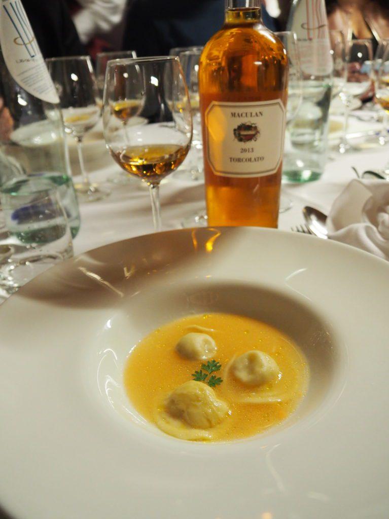 raviolo gorgonzola brodo aringa maionese pomodoro